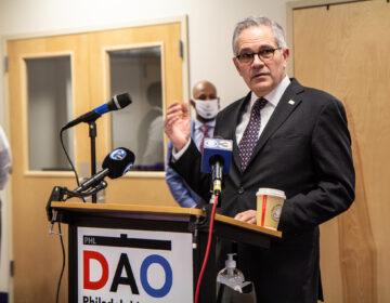Philadelphia District Attorney Larry Krasner addresses the media