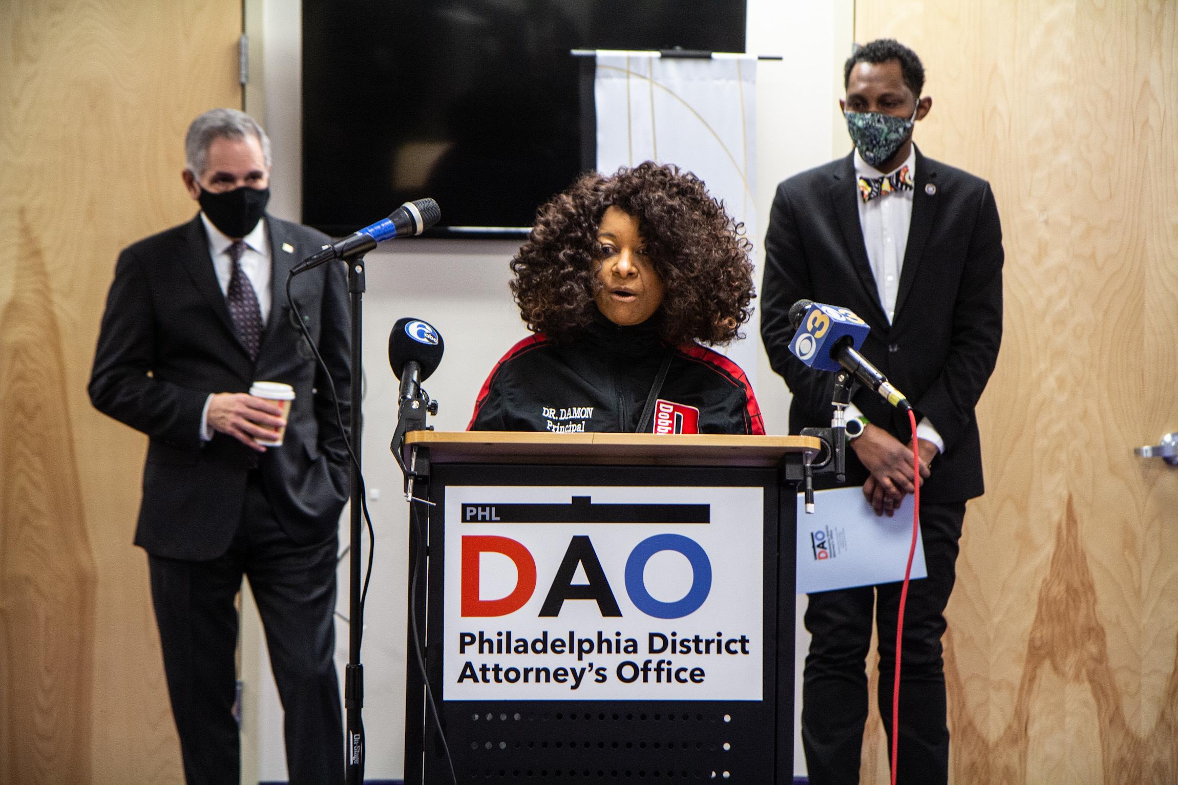 Toni Damon addresses the media at a DAO press conference