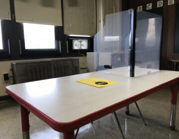 A socially distanced classroom at George W. Nebinger School in South Philadelphia. (Avi Wolfman-Arent / WHYY)