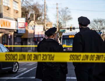 Philadelphia Police at the scene of a shooting near Olney Transportation Center on Feb. 17, 2021. (Kimberly Paynter/WHYY)