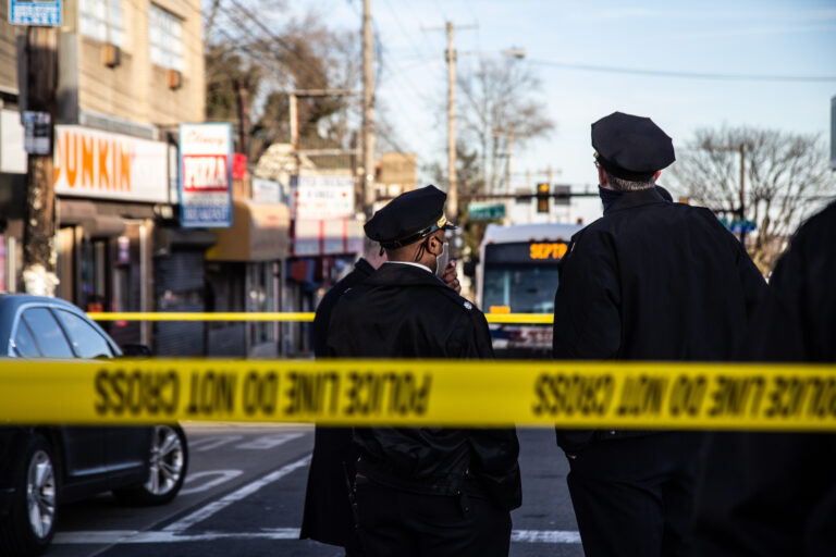 Philadelphia Police at the scene of a shooting near Olney Transportation Center on Feb. 17, 2021. (Kimberly Paynter/WHYY)
