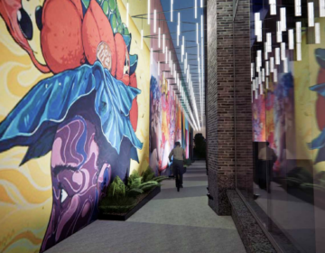 A rendering of the mural walk proposed as part of the 3151 Market Street project from Brandywine Realty Trust. (Courtesy of Gensler)