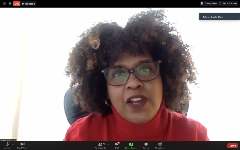 Crystal Clark, principal of Wyncote Elementary School, speaks during Montgomery County's Black History Month virtual panel. (Zoom screenshot)