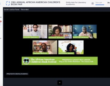Authors exchange ideas during the social justice panel at the 29th annual African American Children's Book Fair. (Hopin screenshot)