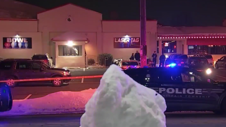 A crime scene outside Our Town Bowling Alley