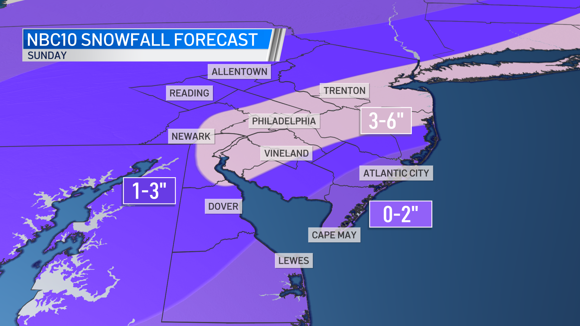 A graphic illustrates expected snow totals throughout the greater Philadelphia region.