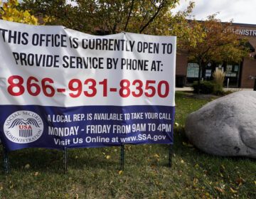 A sign outside a U.S. Social Security Administration office in Mount Prospect, Ill., in October last year. Closed SSA offices across the country are being blamed for a 30 percent drop in applications for an aid program for the most vulnerable.