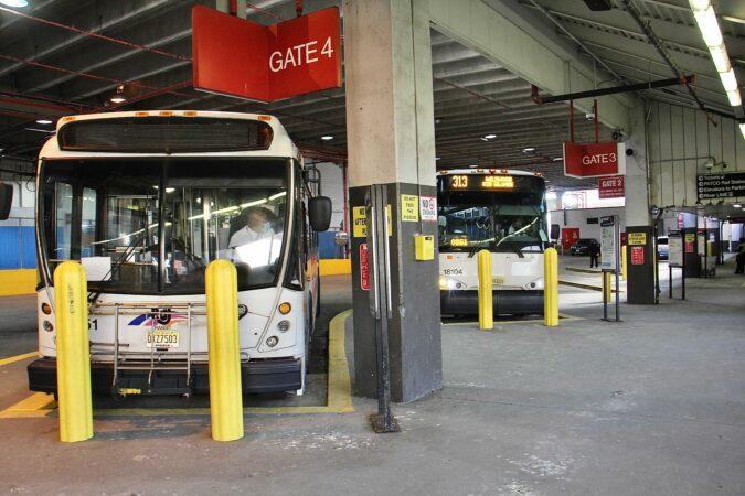 NJ Transit buses dock at Walter Rand Transportation Center in Camden
