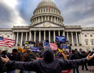 Pro-Trump protesters gather in front of the U.S. Capitol Building