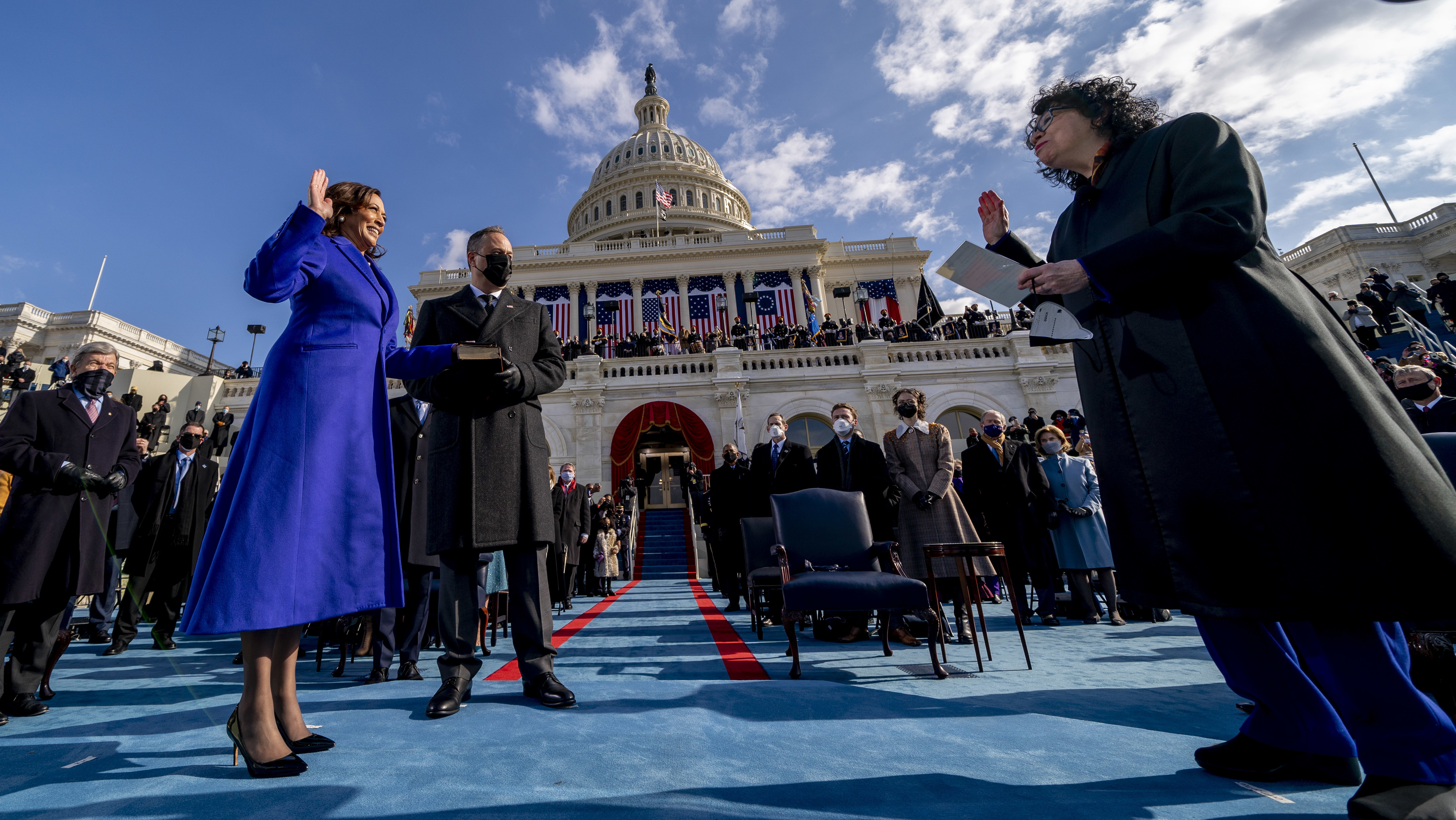 Kamala Harris is sworn in as vice president by Supreme Court Justice Sonia Sotomayor