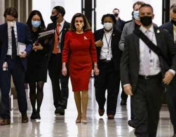 House Speaker Nancy Pelosi, seen at the Capitol on Feb. 11, has called for an independent commission to investigate the Jan. 6 Capitol insurrection. (Samuel Corum/Getty Images)