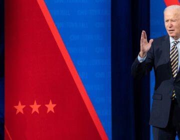 US President Joe Biden participates in a CNN town hall