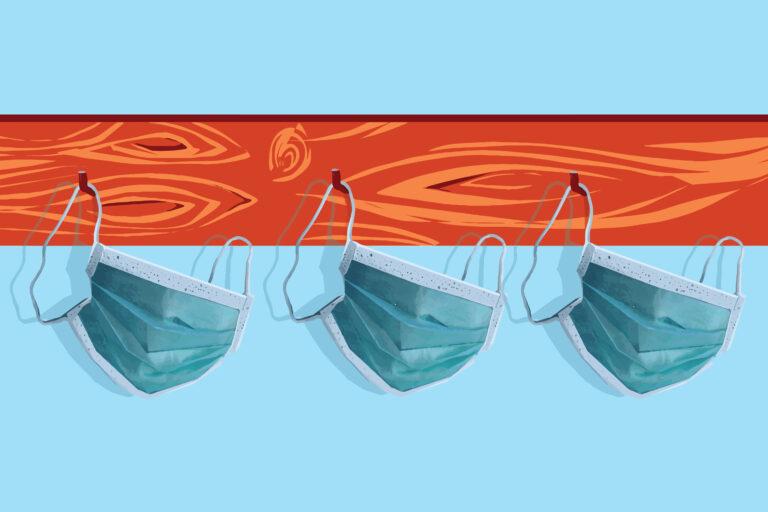 Illustration of face protective masks hanging on a coat rack