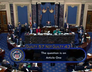 A screenshot taken from a congress.gov webcast of the Senate voting in Trump's second impeachment trial
