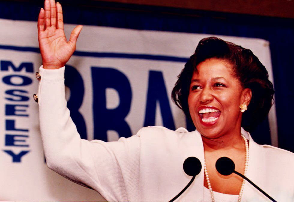 US Senator-elect Carol Moseley Braun declares her victory as the first African-American woman elected to the US Senate