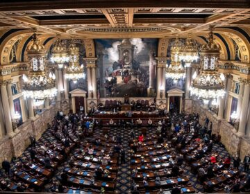 An aerial view of lawmakers in Pennsylvania's Capitol