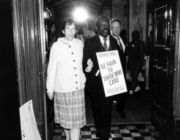 Project HOME founder Sister Mary Scullion, 1199C President Henry Nicholas, and AFSCME District Council 47 President Tom Cronin march in a housing protest