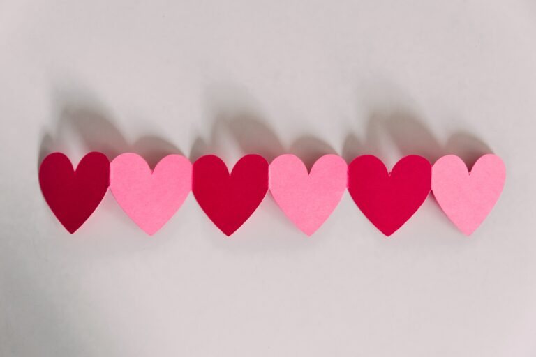 Red and pink paper hearts for Valentines Day