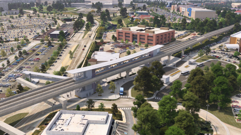 An artist's rendering of the proposed King of Prussia rail line station at Mall Boulevard. (Courtesy of SEPTA)