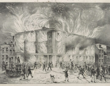 'Destruction by Fire of Pennsylvania Hall,' by J.T. Bowen, 1838 (Library of Congress)