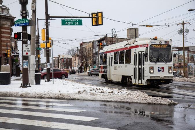 SEPTA's 13 trolley rolls down Lancaster Avenue in Philadelphia's Belmont neighborhood.