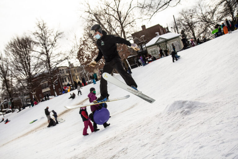 A skier gets some air at Clark Park in West Philadelphia.