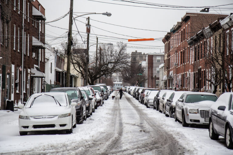 A few inches of snow coat the ground in Philadelphia