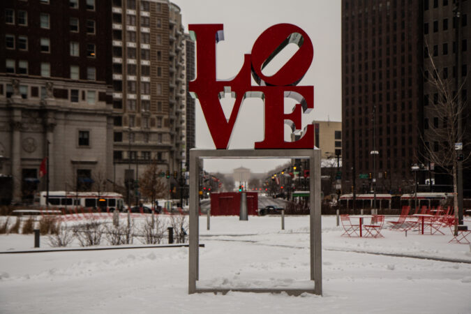 Love Park blanketed with snow