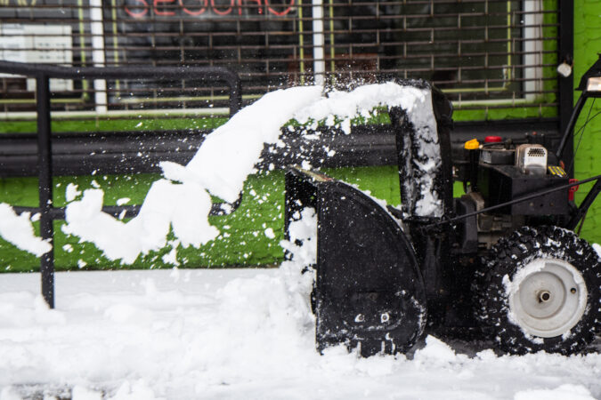 A snow blower in action in Philadelphia
