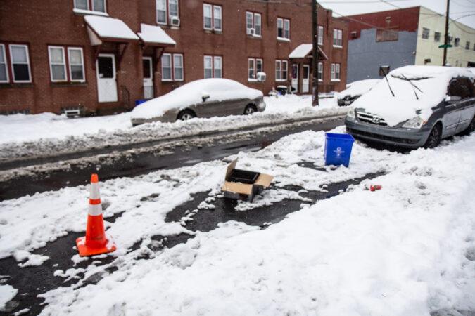 Parking spot savsies in Philadelphia's Port Richmond neighborhood.