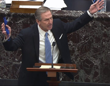 Michael van der Veen speaks about the motion to call witnesses Trump's second impeachment trial. (Senate television via AP)