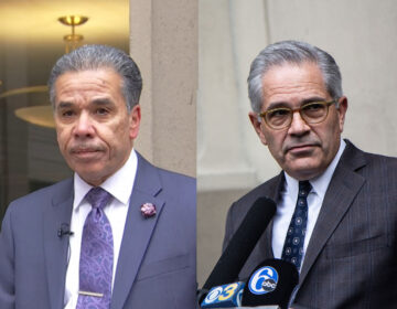 Left: Former prosector Carlos Vega (NBC10) Right: Philadelphia District Attorney Larry Krasner (Kimberly Paynter/WHYY)