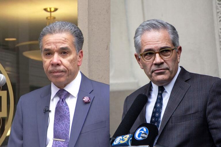 Left: Former prosector Carlos Vega (NBC10) Right: Philadelphia District Attorney Larry Krasner (Kimberly Paynter/WHYY)