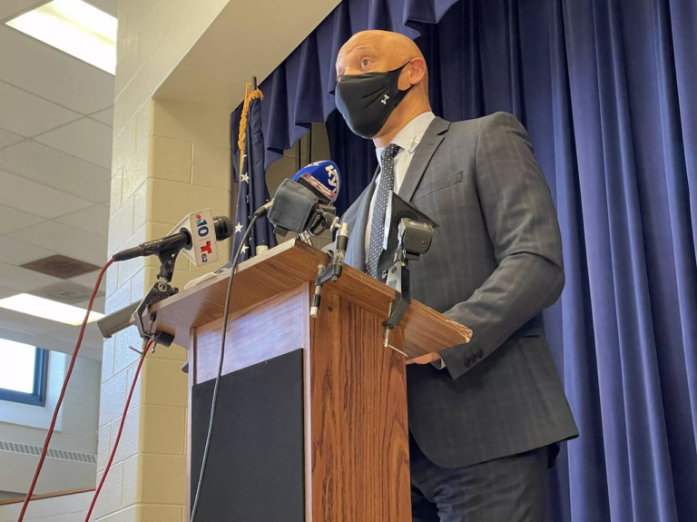 Superintendent William Hite speaks at a press conference