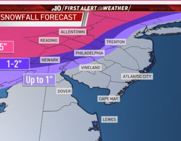 A map illustrates expected snowfall totals in the Philly region