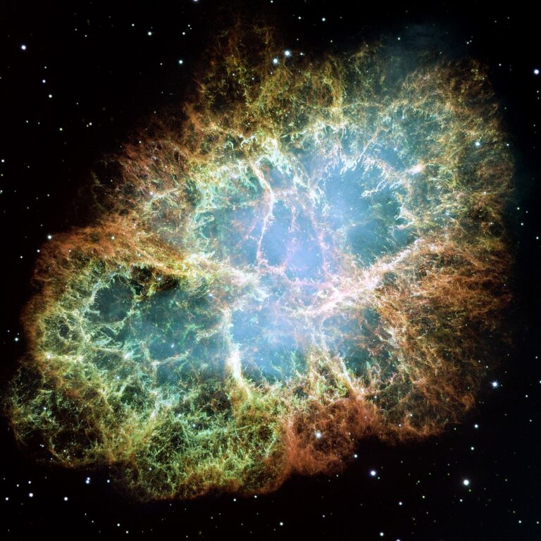 The Crab Pulsar is a relatively young neutron star. The star is the central star in the Crab Nebula, a remnant of the supernova SN 1054, which was widely observed on Earth in the year 1054. Discovered in 1968, the pulsar was the first to be connected with a supernova remnant. (Wikimedia Commons)