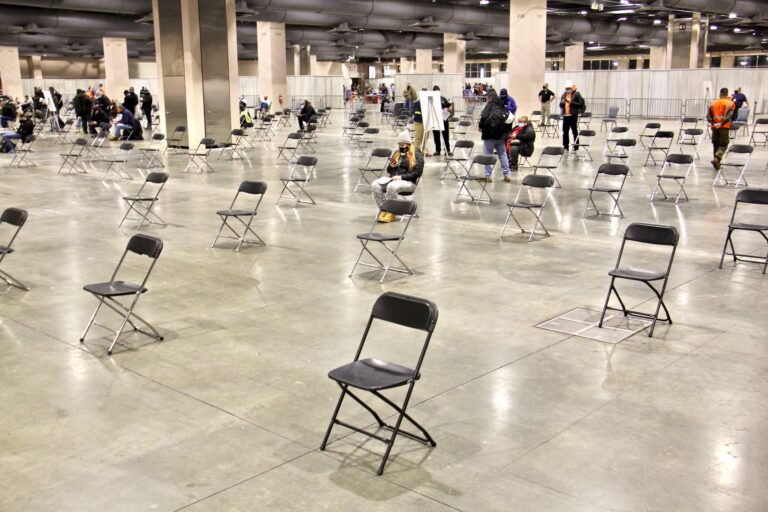 Chairs are seen inside the FEMA-run vaccination site at Pennsylvania Convention Center