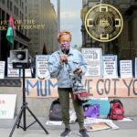 Pam Africa speaks at a protest outside the Philadelphia District Attorney's Office.