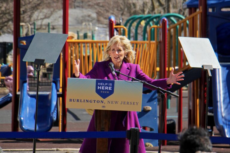 Jill Biden speaks on the playground at Samuel Smith Elementary