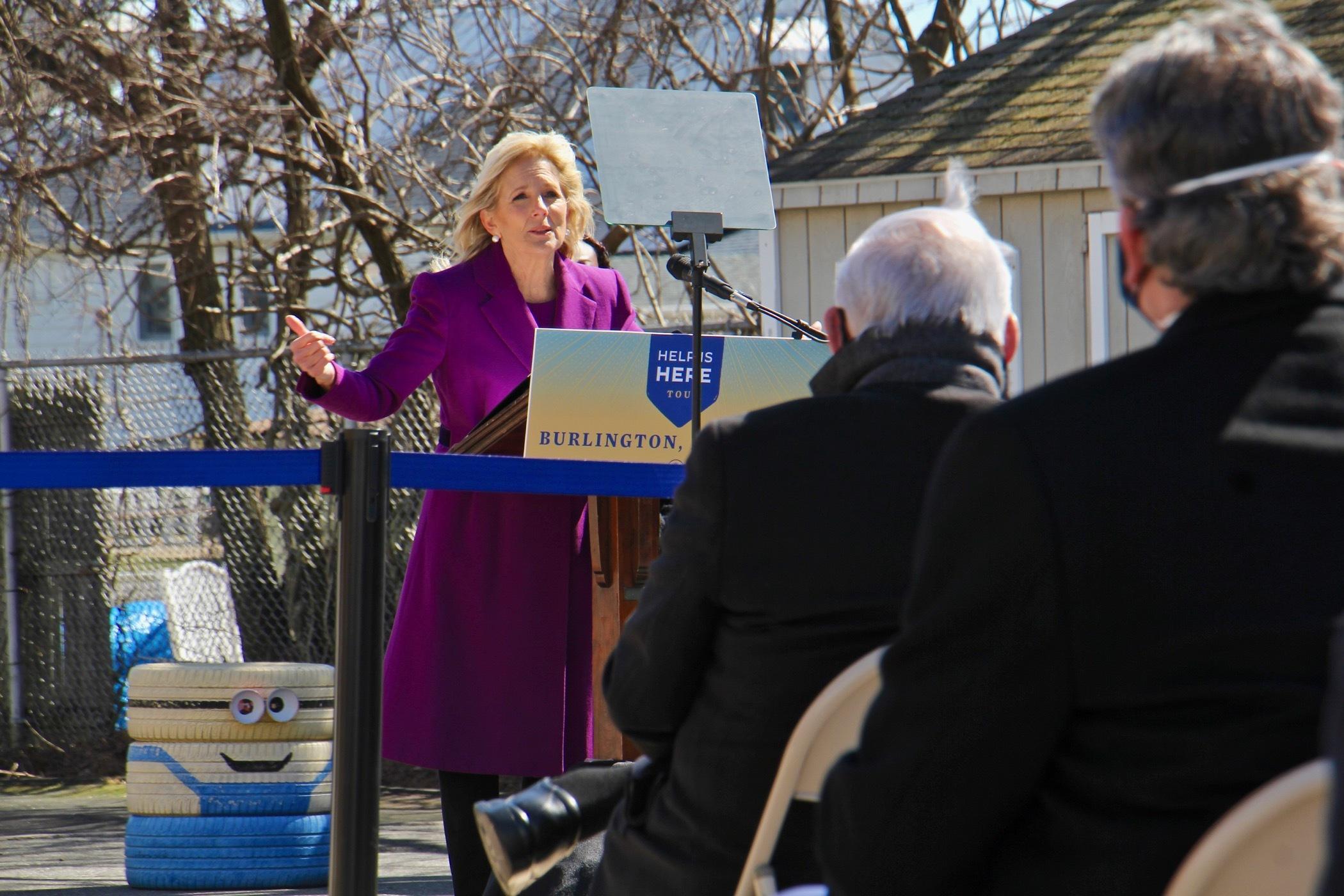 ill Biden speaks on the playground at Samuel Smith Elementary