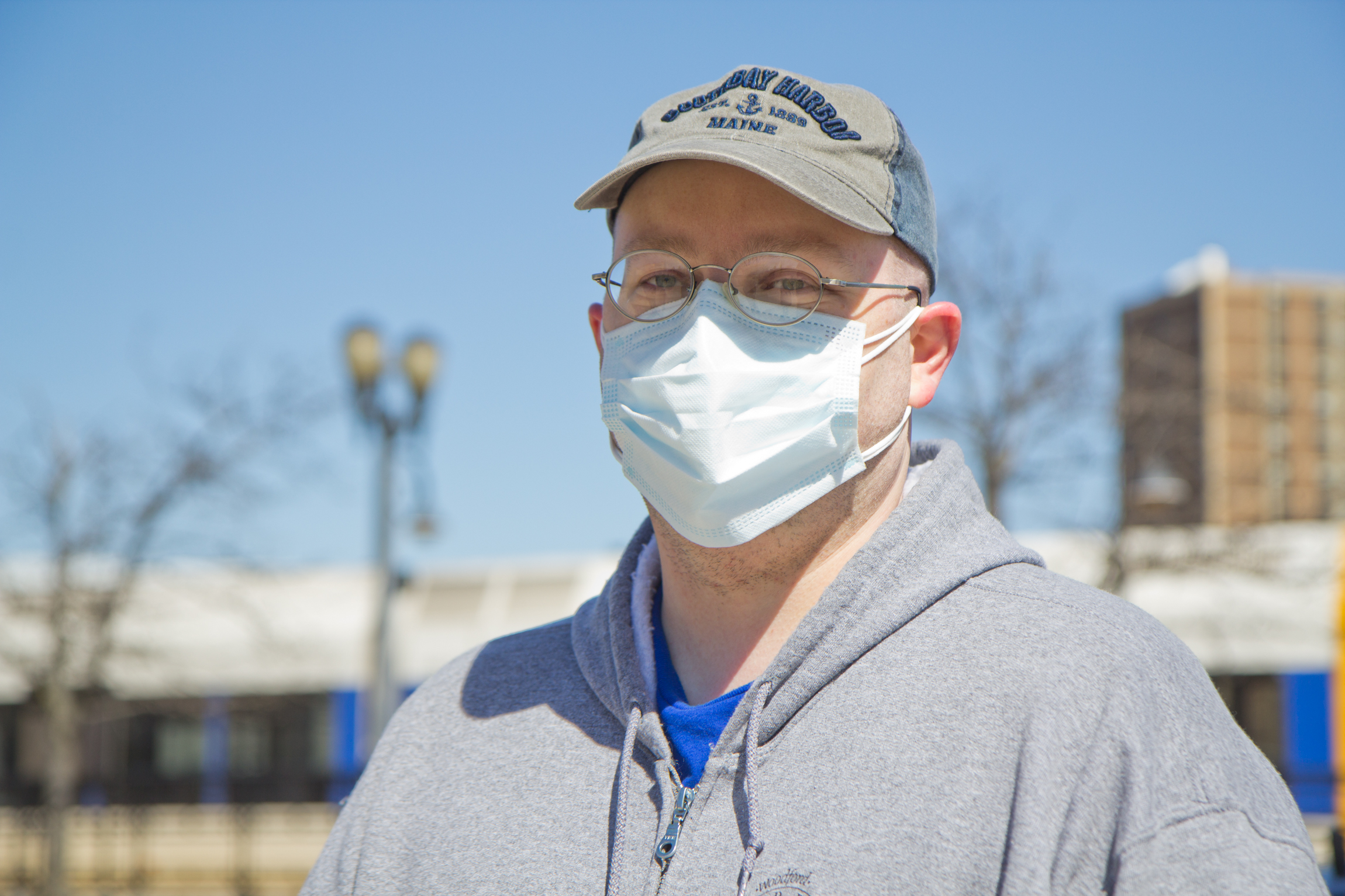 Luke Schurman wears a face mask outside the FEMA clinic at the BB&T Pavilion in Camden