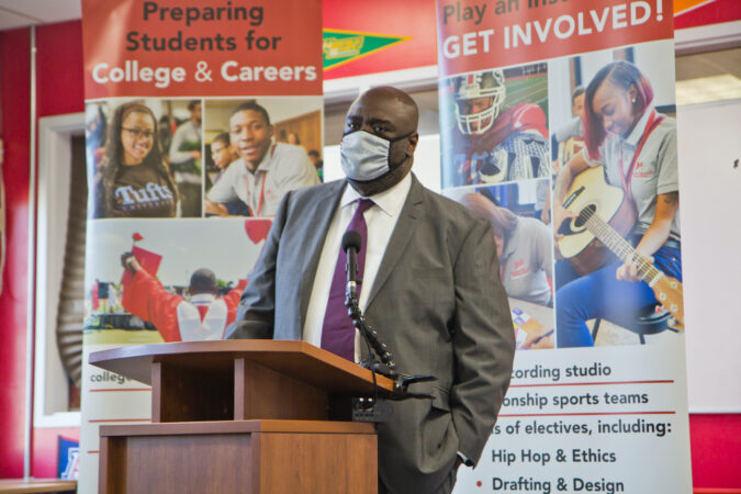City of Philadelphia Managing Director Tumar Alexander speaks at a press conference at Simon Gratz High School Mastery Charter