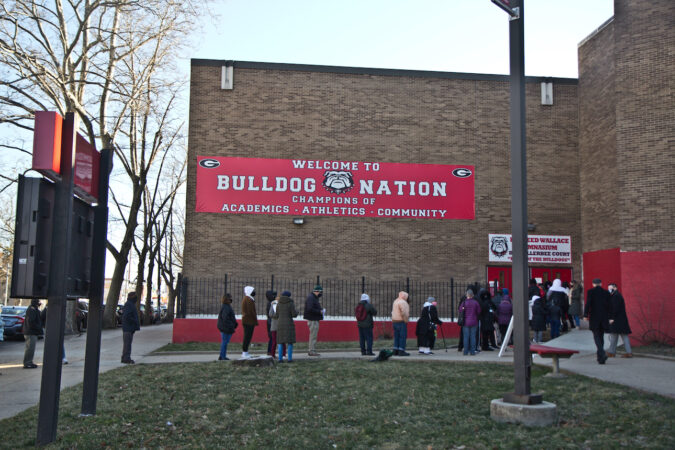 Nicetown residents lined up for COVID-19 vaccinations at Simon Gratz High School Mastery Charter