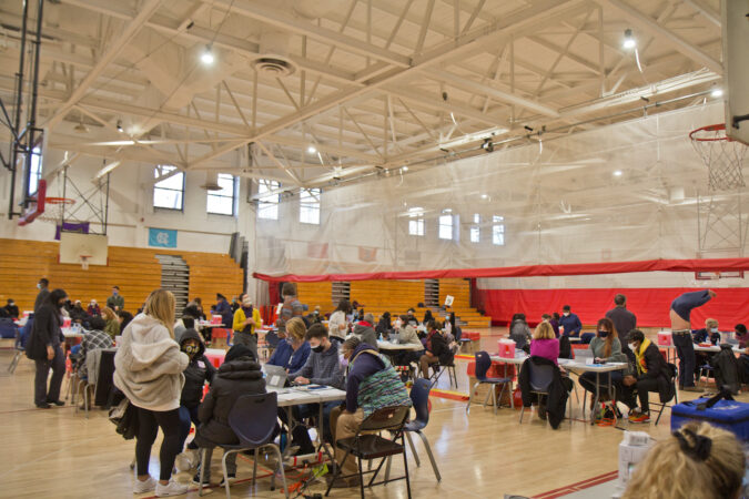 The inside of a community mass vaccination clinic at Simon Gratz High School Mastery Charter