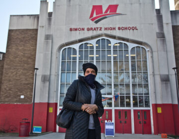 Vincenteen Miller Paige wearing a face mask outside of Simon Gratz High School Mastery Charter