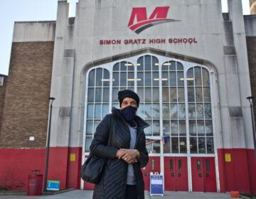 Vincenteen Miller Paige wearing a face mask outside of Simon Gratz High School Mastery Charter