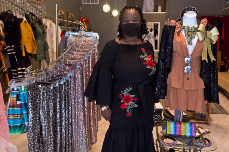 Edith Blackwell is the owner of Edie's Boutique in Chester, Pa. (Kimberly Paynter/WHYY)