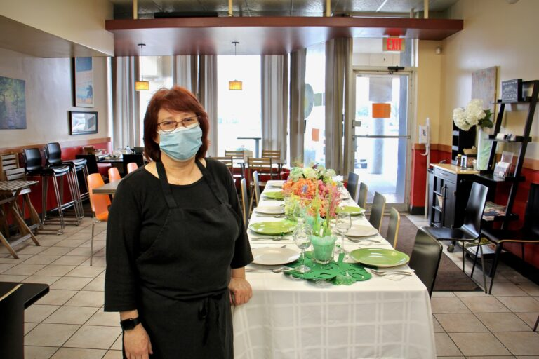 Kathleen Rana can now seat up to 22 customers at her Hamilton Township restaurant, Jersey Girl Cafe, since New Jersey has relaxed its pandemic restriction to 50% capacity. (Emma Lee/WHYY)