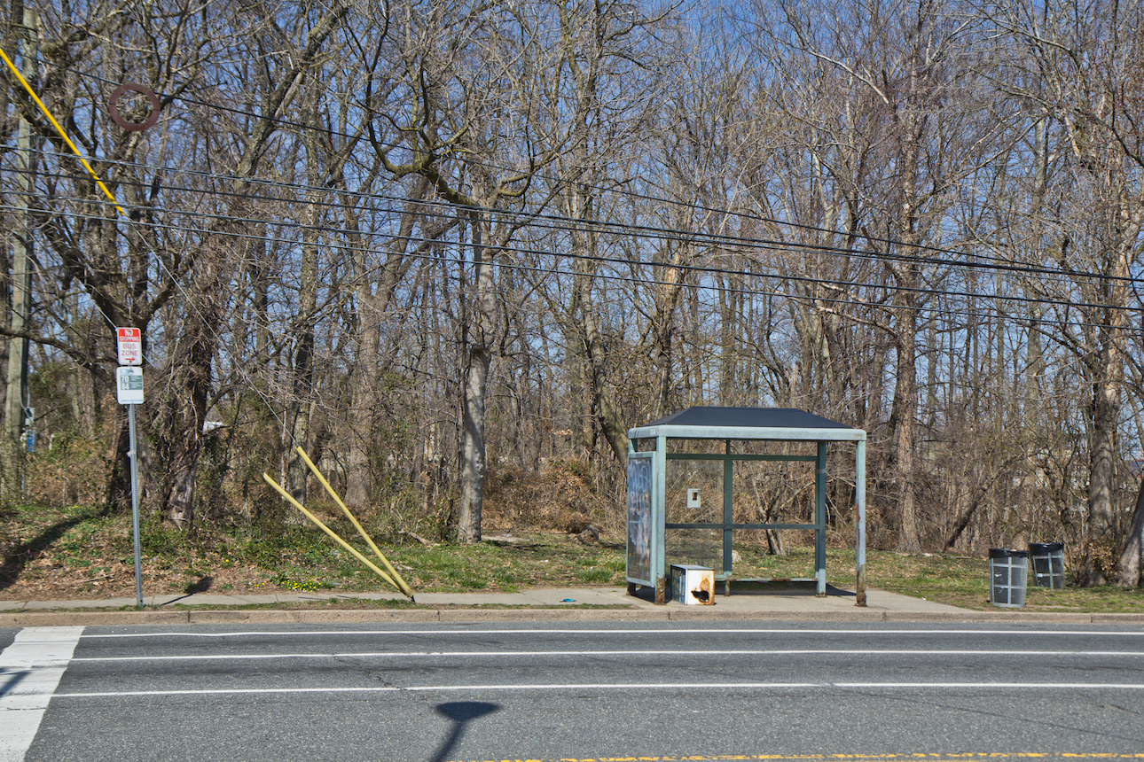 A bus stop outside Curran-Fromhold Correctional Facility