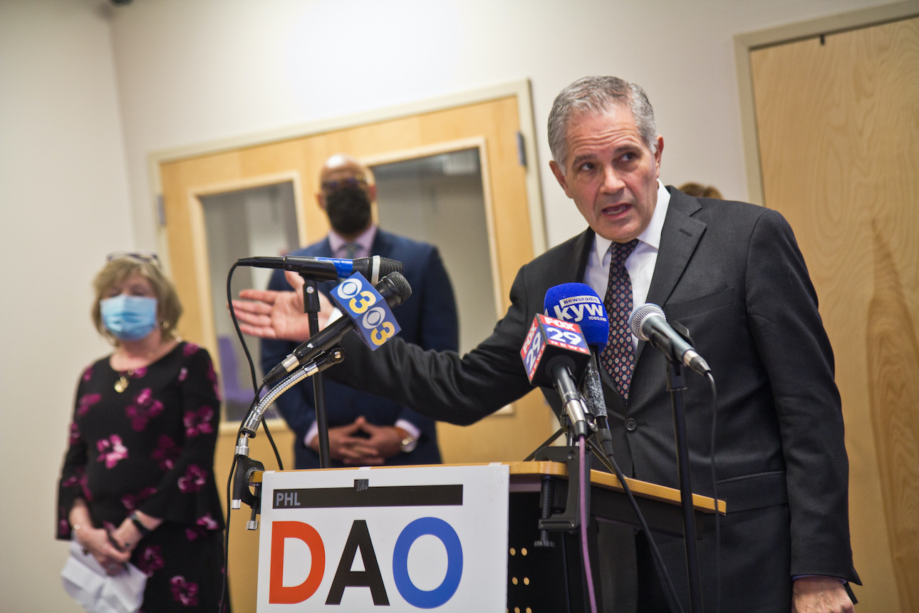 District Attorney Larry Krasner addresses the media from a DAO podium
